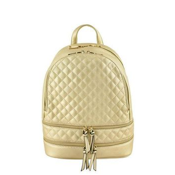 CREY78W Gold Metallic Quilted Backpack