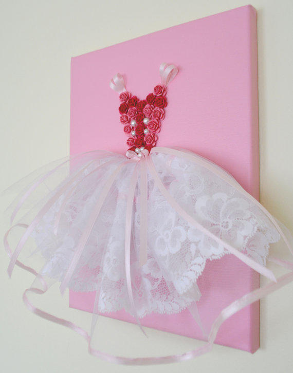 & Princess Dress wall art in pink and from FlorasShop on Etsy