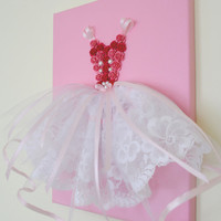 Princess Dress wall art in pink and white. 9X12 canvas.