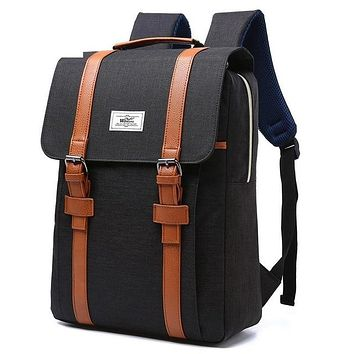 Vintage Men Women BLACK with Tan Straps Canvas Backpacks School Bags for Teenagers Boys Girls Large Capacity Laptop Backpack Fashion Men Backpack