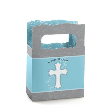 Little Miracle Boy Blue & Gray Cross - Personalized Baptism Mini Favor Boxes