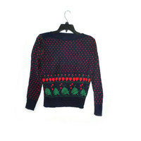 Super rare vintage womens ugly christmas blue sweater red little hearts green whale 60s 70s 80s indie hipster chic fashion style