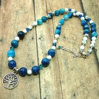 Blue Line Agate Swarovski Indicolite White Howlite Adjustable Necklace