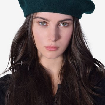 Perf Wool Beret - Forest Green