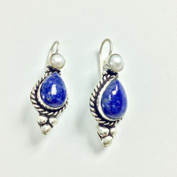 Lapis and pearl Silver Earrings