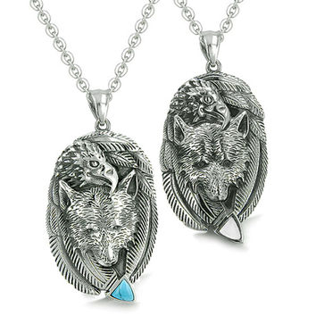 Amulets Love Couple Courage Wolf Eagle Unity Feathers Arrowhead Pendant Necklaces