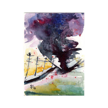 ACEO Twister Tornado Storm Original  Painting by Ginette Callaway Watercolor and Ink