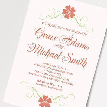Beautiful Garden Wedding Invitation Template - Available for Instant Download - Printable DIY