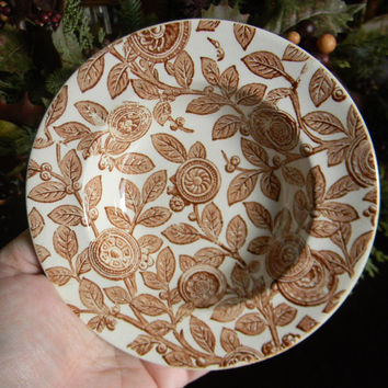 Antique Brown Transferware Bowl English China Tudor Staffordshire China Bowl Candy Bowl Trinket Dish Circa 1871-1891