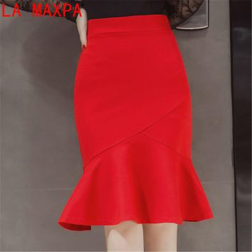 S-5XL Women Pencil Skirt Fashion Ol Slim Bodycon Skirt Business Wear Ruffles Hem Mermaid Style Plus Size Ladies Office Skirt