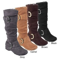 Bamboo by Journee Women's 'Jester-01' Slouch Boots with Buckle | Overstock.com