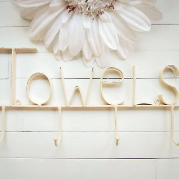 Towel Sign / Towel Holder / Pool Decor / Towel Hooks / Bathroom Accessories / Pool Towel Rack / Pool Towel Hook / Cream Home Decor