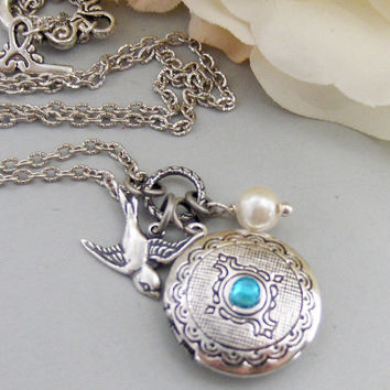 Arielle,Locket,Silver Locket,Silver Bird,Birthstone,Birthstone Jewelry,Antique Locket,Necklace.Handmade Jewelry by valleygirldesigns