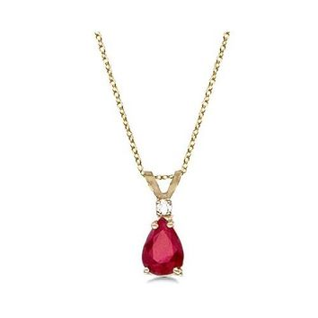 14k Yellow Gold Pear Ruby & Diamond Solitaire Pendant Necklace