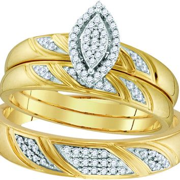 10k Yellow Gold Diamond His & Hers Matching Trio Wedding Engagement Bridal Ring Set 1/4 Ctw