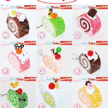 Kawaii Squishy Swiss Roll Cake Cell Phone Charm