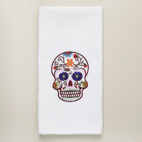 Dia De Los Muertos Embroidered Skull Kitchen Towel | World Market