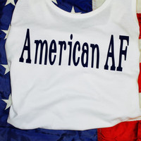 American AF! With navy blue writing