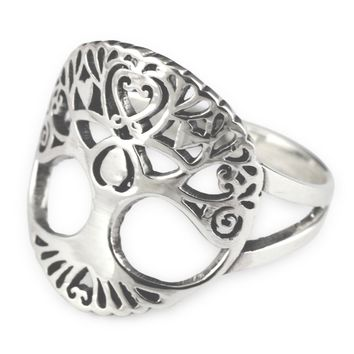Vintage Tree of Life Sterling Silver Ring