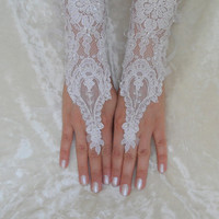 White  wedding glove, lace glove, bridal glove, Long lace glove,  FREE SHIP, OOAK, Unique lace glove