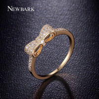NEWBARK Classical Stackable Ring Minimalist Lovely Cute Bow Knot Rings White And  Gold Plated Tiny CZ Paved For Women Small Ring