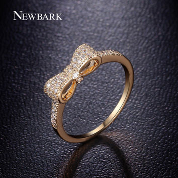 NEWBARK Fashion Lovely Cute Bow Knot Rings White And Gold Plated Tiny CZ Paved For Women Small Ring Best Valentine's Gifts