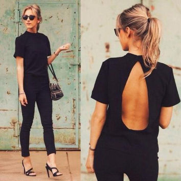 Chic Women Summer Loose Short Sleeve Blouse Ladies Backless Casual Tops T-Shirt