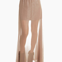 Tan Chiffon See-through Maxi Skirt