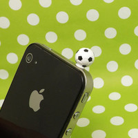 Cute Mini Football Sport Ball Anti Dust Plug 3.5mm Phone Accessory Charm Headphone Jack Earphone Cap for iPhone 4 4S 5 iPad HTC Samsung