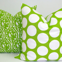 Lime Green Pillow Set.18x18 inch.Decorator PillowCover. Printed Fabric Front and Back.Chartruese Green.Lime Green.Cushions