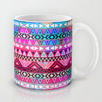 Neon Aztec | Purple Pink Neon Bright Andes Abstract Pattern Mug by Girly Trend