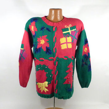 Ugly Christmas Sweater Vintage 1990s Tree  Holiday Tacky Xmas Party Women's size S