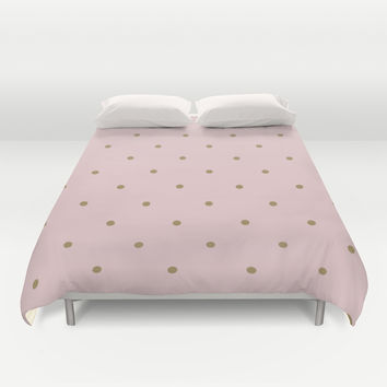 pink & gold polka dots Duvet Cover by SuzanneCarter