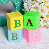 4 Baby Blocks Multi Color Blue Pink Letter Blocks Baby Shower Centerpiece