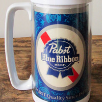 Vintage 1970's Pabst Blue Ribbon ThermoServ Beer Mug