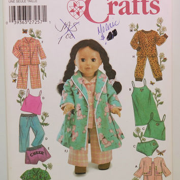 Simplicity Crafts 5276 (c.2003) Elaine Heigl Designs, Sewing Pattern For 18 inch Fashion Doll, Pajamas, Pj's, Doll Robe, Doll Clothes
