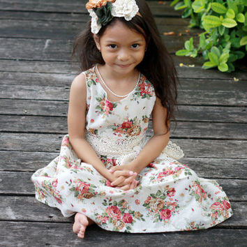 floral dress, Rustic style flower girl's dress, toddler dress, girls spring dress, rose flower dress with lace sash