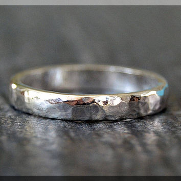 Hammered Sterling Silver Ring, Thick Sterling Silver Stacking Ring, 3mm Sterling Silver Wedding Ring, Mens Sterling Silver Wedding Band