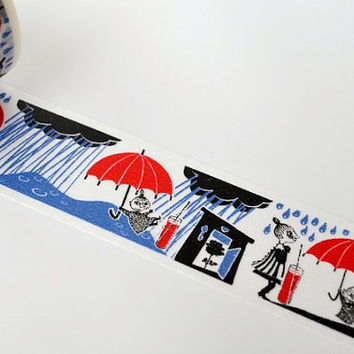 NEW- Moomin Story Book Series Japanese Washi Masking Tape / Little My & The Rain 30mm wide 15m long