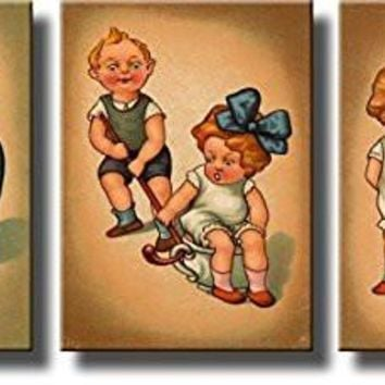 Boy and Girl Sharing Chamber Pot Potty Seat Bathroom 3 Panels Picture on Stretched Canvas, Wall Art Decor Ready to Hang!.