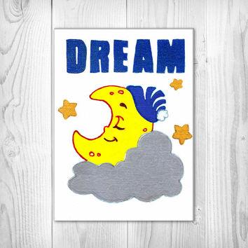 Dream - Sleeping Moon & Stars - Nursery Art