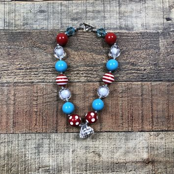 RTS Red & Blue Chunky Necklace!