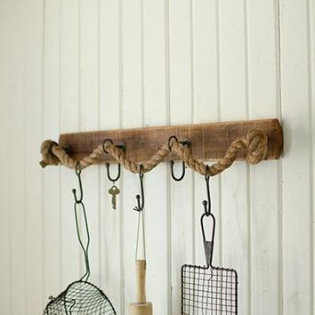 Recycled Wood With Rope & Wire Hook Coat Rack
