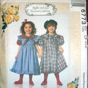 Girls Dress & Pinafore Size 4 - 5 - 6 McCall's 6773 Vintage Sewing Pattern Uncut