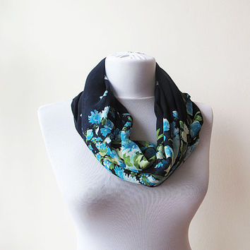 Dark Blue With Blue Flowers Scarf, Floral Spring Infinity Circle Scarf, Women scarves, Women Accessories