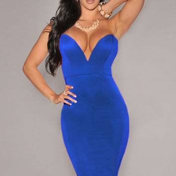 Blue Plunging V Neckline Strapless Bodycon Dress