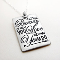 Inspirational quote necklace Rumi Let the by lulubugjewelry