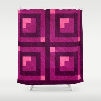 Magenta Pixel Blocks Shower Curtain by Likelikes | Society6