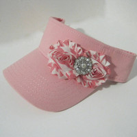 Pretty in Pink Golf Sun Visor with Pink Striped Chiffon Flower and Faux Pearl and Rhinestone Accent Golf Accessories Visors Sun Hats