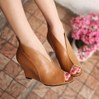 Peep toe wedges ankle comfortable for ladies | gracefashionstores.com